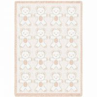 Teddy Bears Natural Small Blanket 48x35 inch
