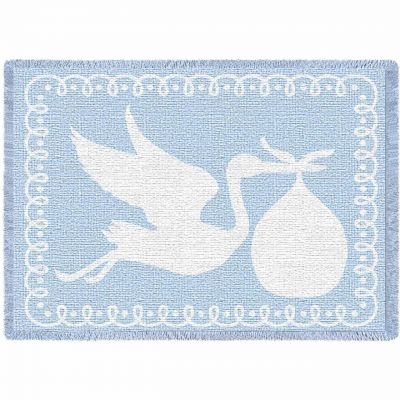 Stork Blue Small Blanket 48x35 inch - 666576098980 - 4369-A