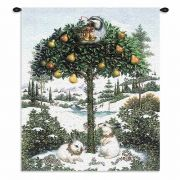Partridge In Tree Wall Tapestry 26x34 inch