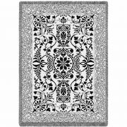 Black and White Floral Scroll Blanket 48x69 inch