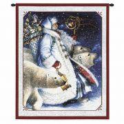 Santa and Polar Bears Wall Tapestry 26x34 inch