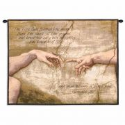 Creation of Adam With Words Wall Tapestry 34x26 inch
