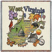 West Virginia State Small Blanket 54x54 inch