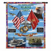 Marine Corp Land Sea Air Wall Tapestry 26x34 inch
