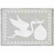 Stork White Natural Small Blanket 48x35 inch