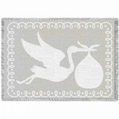 Stork White Natural Small Blanket 48x35 inch - 666576105633 - 4461-A