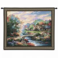 Country Bridge Wall Tapestry by Artist James Lee 34x26 inch