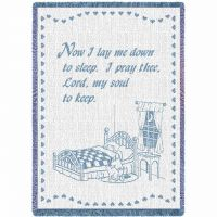 Now I Lay Me Blue Blanket 53x48 inch