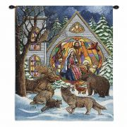 Snowfall Nativity Wall Tapestry 34x26 inch