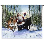 Santa In The Forest Wall Tapestry 31x25.5 inch