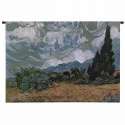Wheat Field with Cypresses Wall Tapestry 32x27 inch