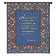 Psalms 91:4 Wall Tapestry 34x26 inch