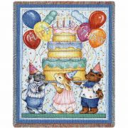 Happy Birthday Tapestry Mini Blanket 35x53 inch