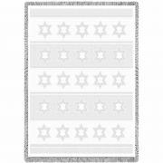 Star Of David White Small Blanket 48x35 inch