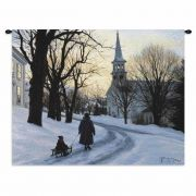 Winters Eve Wall Tapestry 34x26 inch