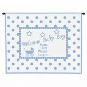 Welcome Baby Boy Wall Tapestry 32x26 inch
