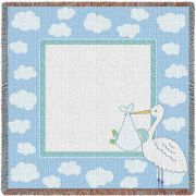 Stork Clouds Blue Small Blanket 53x53 inch