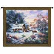 Snowy Evening Wall Tapestry by Artist James Lee 34x26 inch