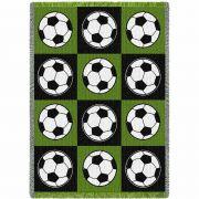 Soccer Balls Green and Black Blanket 48x69 inch