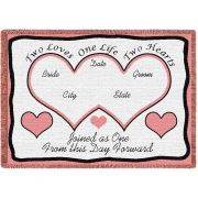 Two Hearts Pink Blanket 69x48 inch
