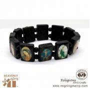 Assorted Saint Dark Brown Wooden Bracelet
