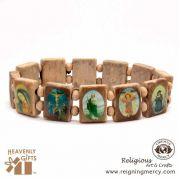 Assorted Saint Light Brown Wooden Bracelet