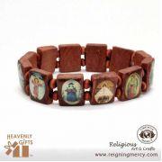 Assorted Saint Medium Brown Wooden Bracelet