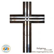 """Wooden Cross with Pewter Inlay (18.5"""" x 12.5"""")"""
