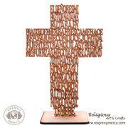 "Wooden Laser Cross Prayer w/base ""El Senor Es Mi Pastor"""