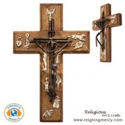 "Wooden Cross w/ Metalic Christ (Milagros) 8"" x 5"""