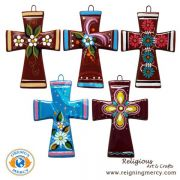 Ceramic Hand Painted Crosses Assorted Designs (Set of 10)