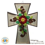 "Wooden Cross Carved Aluminum 10.75"" x 7.5"""