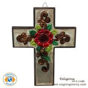 """Wooden Cross Carved Aluminum 8"""" x 6"""""""