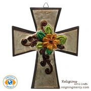 """Wooden Cross Carved Aluminum 7.5"""" x 6"""""""