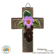 """Wooden Cross with Carved Aluminum 4.5"""" x 3"""""""