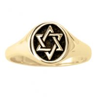 14Kt Gold Men's Ring - Signet Star of David