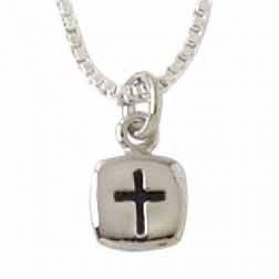 Christian Jewelry Silver Cross Necklace 18 Box Chain-Flat Square -  - 511-811-0270