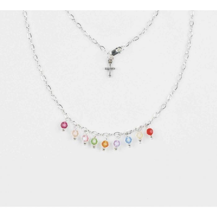 Christian Jewelry Silver Crystal Necklace-Fruit of the Spirit Small