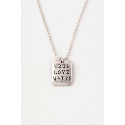 Christian Jewelry Sterling Silver True Love Waits Necklace - Tag -  - 510-390-0017