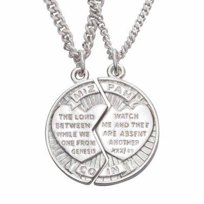 Christian Necklace - Two Halves - Mizpah Cracked Coin -  - 510-328-667X