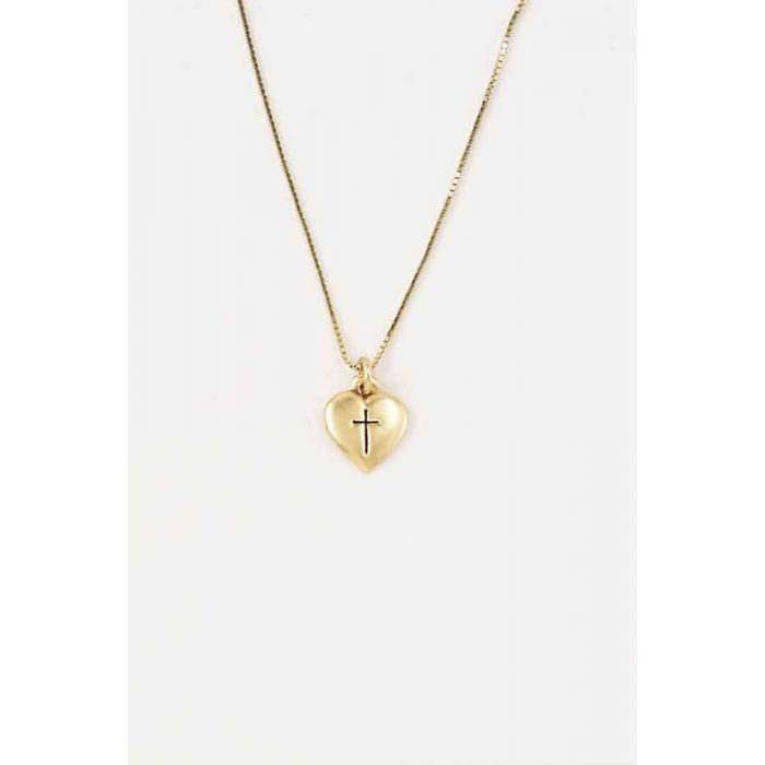 Necklaces Cross Necklace Small Heart 14 Karat Gold
