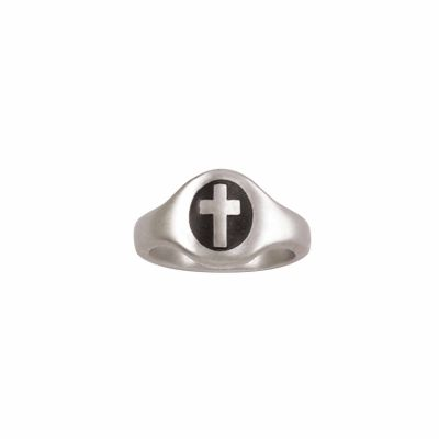 Sterling Silver Ladies  Christian Cross Ring - Oval With Black -  - 511-821-3649