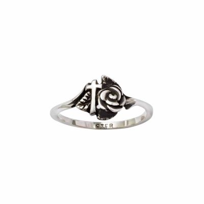 Sterling Silver Ladies  Christian Cross Ring - Rose -  - 511-821-3541