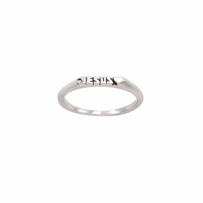 Sterling Silver Ladies  Heart Christian Ring - Thin Band Jesus -  - 511-824-5362