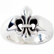 Sterling Silver Men's Christian Ring - Fleur de Lis