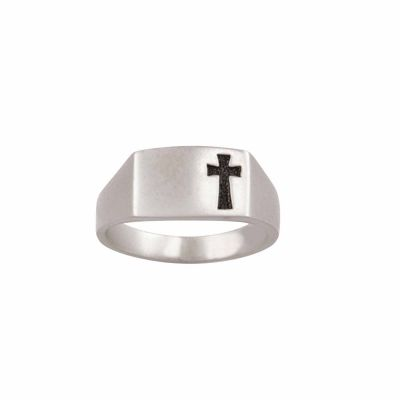 Sterling Silver Men s Cross Christian Ring - Shiny Recessed -  - 511-830-9042