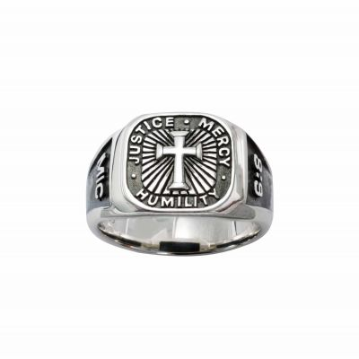 Sterling Silver Men s Cross Christian Ring - Signet/Micah 6:8 -  - 511-830-945X