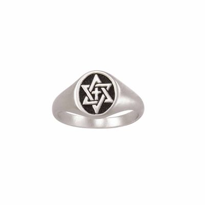 Sterling Silver Men s Cross Christian Ring - Signet Star of David -  - 511-832-3274