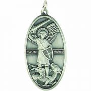 1 1/2in. Saint Michael Antique Silver Pendant w/Chain - (Pack of 2)