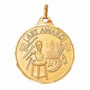 1 1/4in. Gold Plated Art Award Medallion with V-Neck Ribbon - 2Pk
